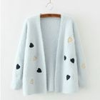 Heart Applique Embroidered Cardigan 1596