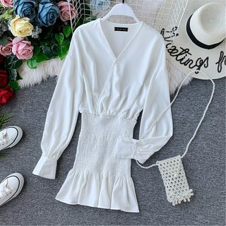 Long-sleeve   Chiffon   Dress   Wrap   Mini