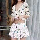 Set: Butterfly Print Bikini + Cover-Up Top + Swimskirt 1596