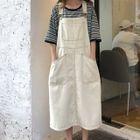 Striped Elbow-Sleeve T-Shirt / Midi Denim Pinafore Dress 1596