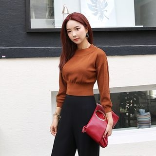 Crew-Neck Cropped Knit Top 1053051546