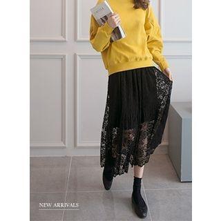 Band-Waist Lace Long Skirt 1058024636