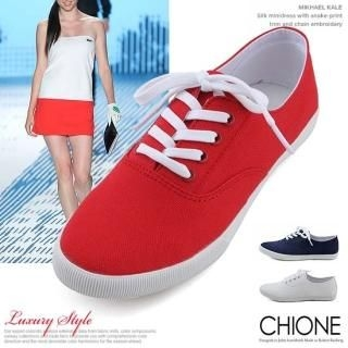 Picture of Chione Lace-Up Canvas Sneakers 1022447810 (Sneakers, Chione Shoes, Korea Shoes, Womens Shoes, Womens Sneakers)