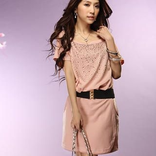 Buy Tokyo Fashion Short-Sleeve Belted Rhinestone Dress 1022392847