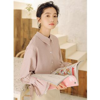 Valus Striped Lace-Up Sleeve Blouse