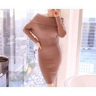 Off-Shoulder Ribbed Knit Dress 1053922248