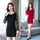 Lace Long-Sleeve Bodycon Dress 1596