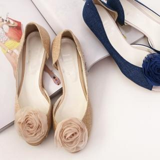 Picture of CLICK Rosette Peep-Toe Flats 1022871198 (Flat Shoes, CLICK Shoes, Korea Shoes, Womens Shoes, Womens Flat Shoes)