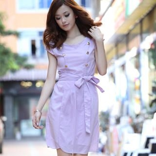 Picture of 19th Street Cap-Sleeve Buttoned Tie-Waist Dress 1023058479 (19th Street Dresses, Womens Dresses, China Dresses)