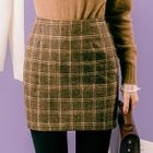 Plaid Mini Pencil Skirt 1596