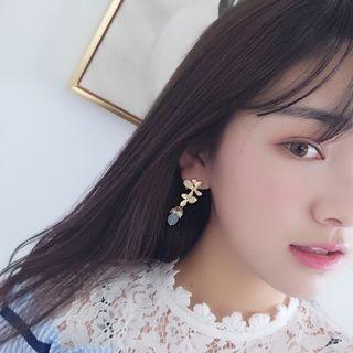 Jeweled Pearl Flower Earrings