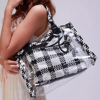 Buy Kvoll Clear Tote with Check Shoulder Bag 1022990106