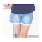 Lace Trim Drawstring Denim Shorts Light Blue - One Size 1596