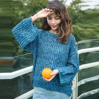 Melange Lace Up Back Ribbed Sweater 1054055930