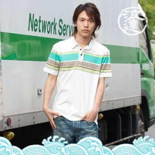 Picture of Namitatsu Short-Sleeve Striped Polo Shirt 1022536610 (Namitatsu, Mens Tees, Japan)