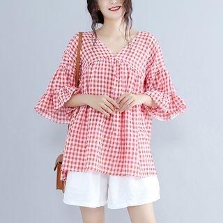 Plaid V-neck Bell-Sleeve T-shirt 1065628838