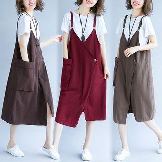 Pocketed Midi Pinafore Dress 1067724854