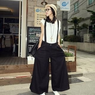 Buy BBon-J Wide Leg Suspender Pants 1022746413