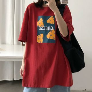 Image of Cheese Print Elbow-Sleeve T-Shirt