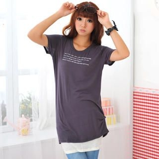 Buy 59 Seconds Short-Sleeve Printed Long Knit Top 1022836316