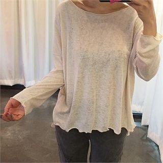 Drop-Shoulder Sheer Knit Top 1051137991