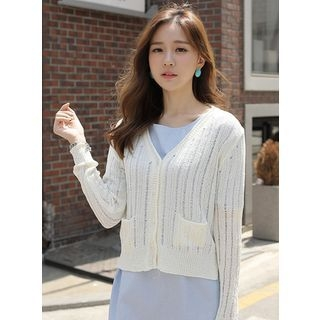 V-Neck Ribbed Cardigan 1060254733