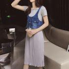 Set: Short-Sleeve Panel Dress + Washed Denim Vest от YesStyle.com INT