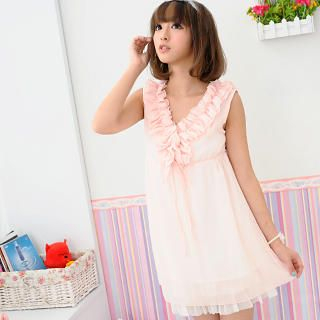 Picture of 59 Seconds Sleeveless Ruffle Babydoll Tunic Pink - One Size 1022800625 (59 Seconds Dresses, Womens Dresses, Hong Kong Dresses, Sleeveless Dresses, Tunics)