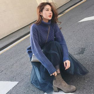 Image of Cable-Knit Sweater / Midi Mesh Skirt / Set