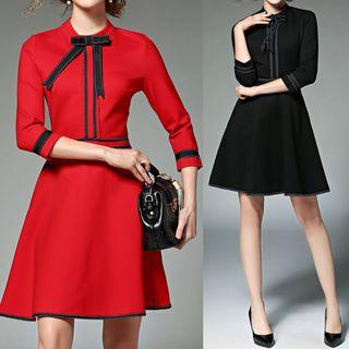 Image of Ribbon-Trim 3/4-Sleeve Dress