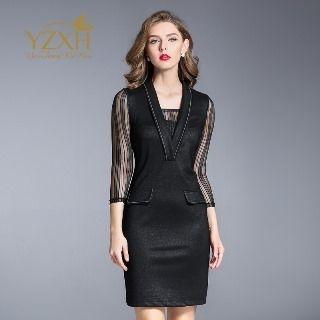 Mesh Inset Sheath Dress 1063986587