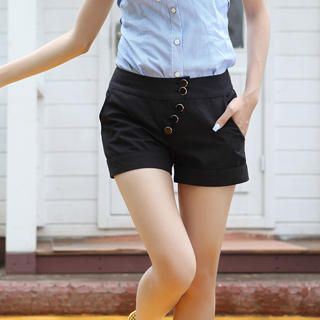 Picture of 19th Street Side-Button Cuffed Shorts 1023030847 (Womens Shorts, 19th Street Pants, China Pants)