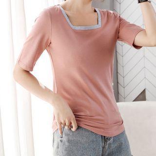 Image of Contrast Trim Square-Neck Short-Sleeve T-Shirt