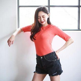 Short-Sleeve Ribbed Slim-Fit T-Shirt 1061299176