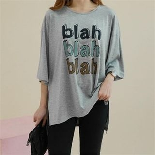 Elbow-Sleeve Lettering T-Shirt 1064710803