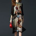 Mandarin Collar Printed Midi Dress 1596