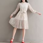 Long-Sleeve Tie-Waist Lace Dress 1596