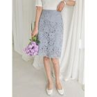 Lace-Overlay Colored Pencil Skirt 1596
