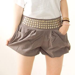 Buy Fashion Lady Bubble-Hem Studded Shorts 1022887410