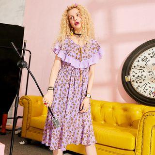 ELF SACK Printed Ruffled A-Line Dress