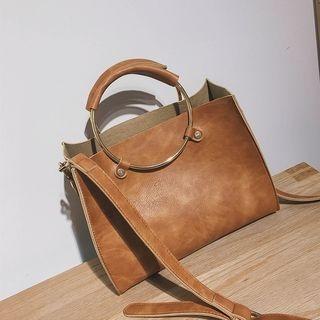 Faux-Leather Ring-Handle Handbag 1062176782