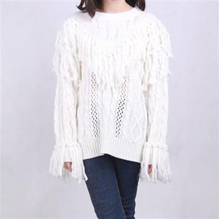 Fringed Cable-Knit Sweater White - One Size 1054929541