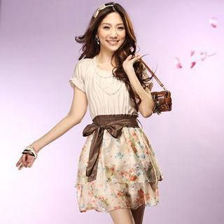 Buy Tokyo Fashion Mock Two-Piece Floral Print Dress 1022412012