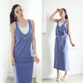 Buy FRANGIPANI Set: Sleeveless Long Dress + Tank Dress 1022967284