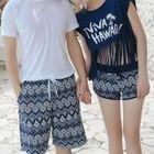 Couple Matching Swim Shorts/ Set: Bikini + Swim Shorts + Lettering Short Sleeve Top 1596