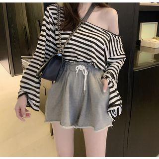 Long-sleeve   Drawstring   Oversize   T-Shirt   Stripe   Short