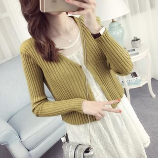 Rib Knit Cropped Cardigan 1051581001
