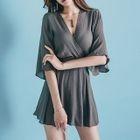 3/4-Sleeve Wrapped Neck A-Line Dress 1596