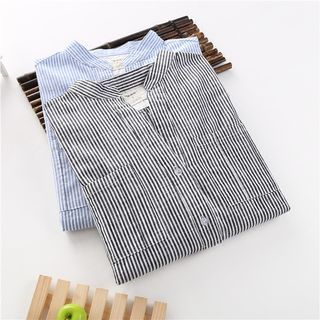 Pinstriped Linen Cotton Blouse 1051094222