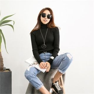 Mock-Neck Ribbed Top 1055955117